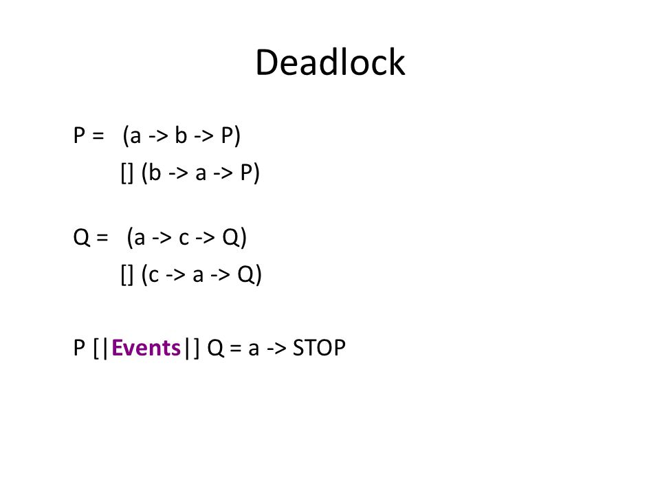 Deadlock P = (a -> b -> P) [] (b -> a -> P) Q = (a -> c -> Q) [] (c -> a -> Q) P [|Events|] Q = a -> STOP